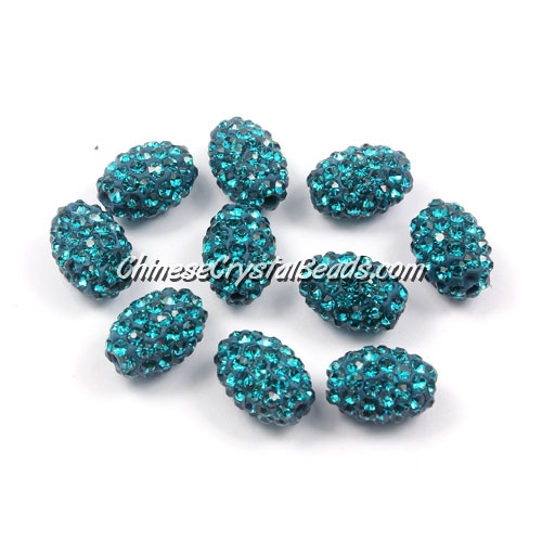 Oval Pave Beads, 9x13mm, Clay, indicolite, sold per 10pcs bag