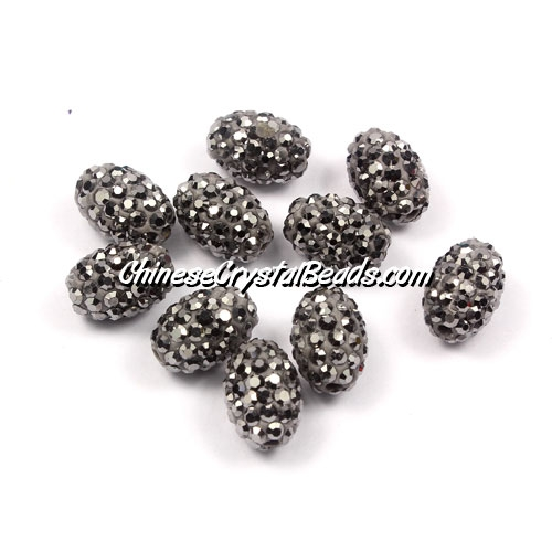 Oval Pave Beads, 9x13mm, Clay, silver, sold per 10pcs bag