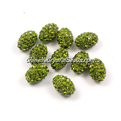Oval Pave Beads, 9x13mm, Clay, olivine, sold per 10pcs bag