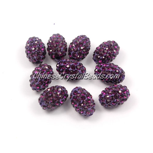 Oval Pave Beads, 9x13mm, Clay, violet, sold per 10pcs bag