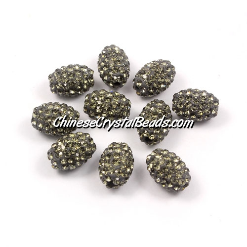 Oval Pave Beads, 9x13mm, Clay, gray, sold per 10pcs bag