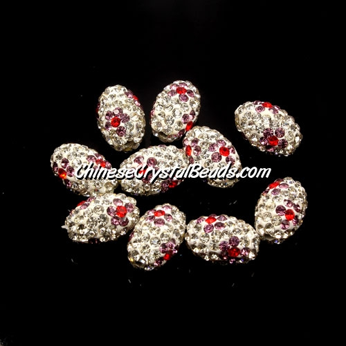 Oval Pave Beads, 9x13mm, Clay, flower, #12, sold per 10pcs bag