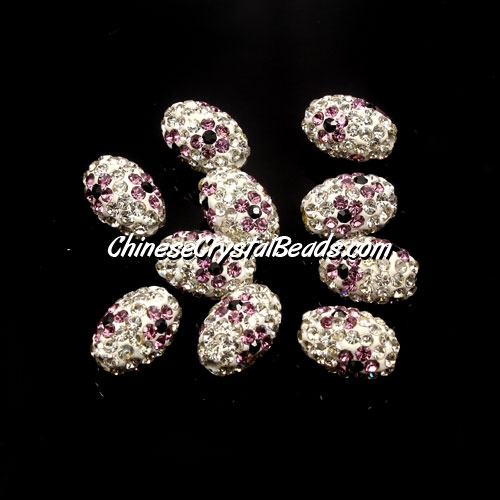 Oval Pave Beads, 9x13mm, Clay, flower, #11, sold per 10pcs bag