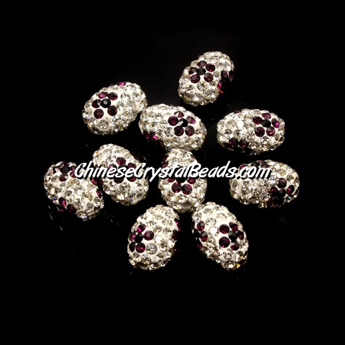 Oval Pave Beads, 9x13mm, Clay, flower, #05, sold per 10pcs bag