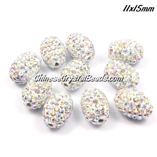 Oval Pave Beads, 11x15mm, Clay, Clear ab, sold per 10pcs bag