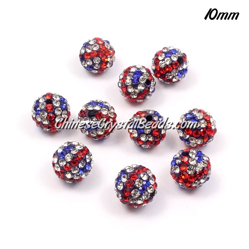 50pcs, Pave beads , clay, UK flag 10mm, hole: 1.5mm