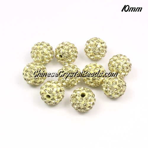 50pcs, 10mm Pave (clay) disco beads,light yellow, hole: 1.5mm