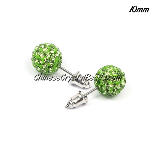 Pave Earrings, 10mm, clay pave beads, green, sold 1 pair