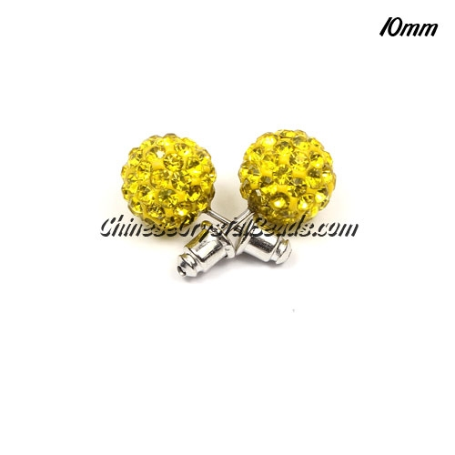 Pave Earrings, 10mm, clay pave beads, golden yellow, sold 1 pair