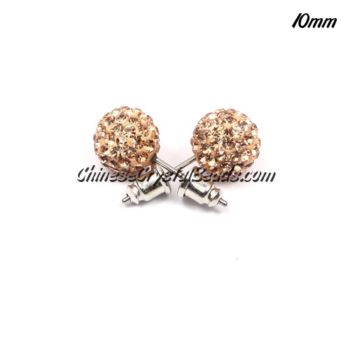 Pave Earrings, 10mm, clay pave beads, peach, sold 1 pair