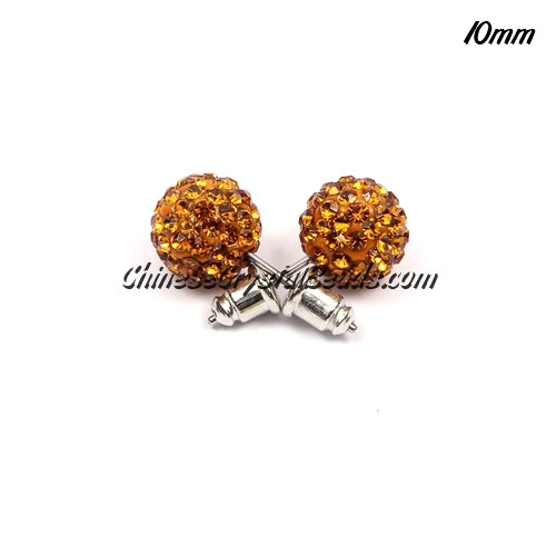 Pave Earrings, 10mm, clay pave beads, amber, sold 1 pair