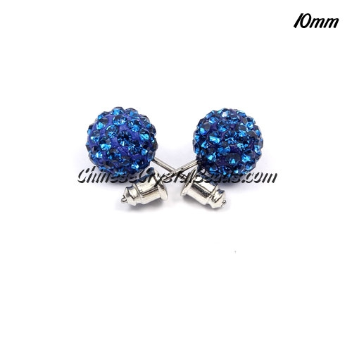 Pave Earrings, 10mm, clay pave beads, capri blue, sold 1 pair