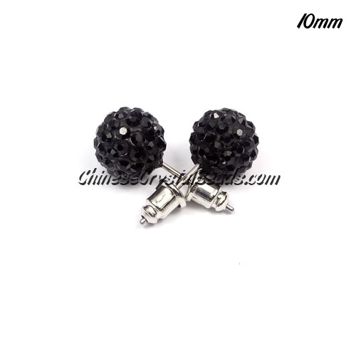 Pave Earrings, 10mm, clay pave beads, black, sold 1 pair