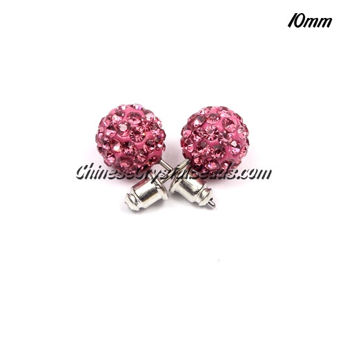 Pave Earrings, 10mm, clay pave beads, Pink, sold 1 pair