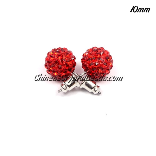 Pave Earrings, 10mm, clay pave beads, red, sold 1 pair
