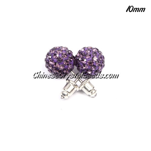 Pave Earrings, 10mm, clay pave beads, violet, sold 1 pair
