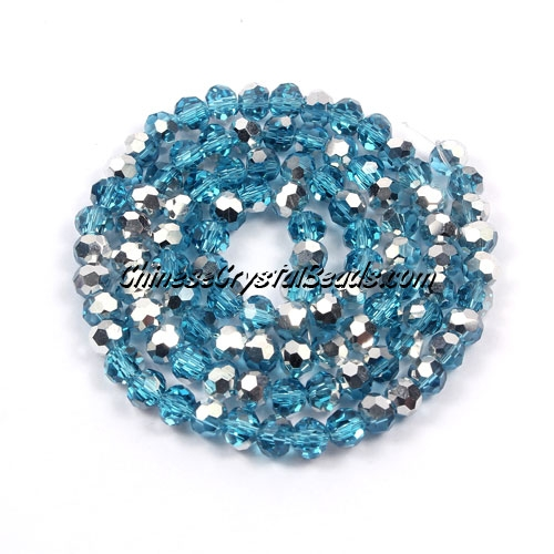 Chinese Crystal round Bead Strand, Aqua Half silve, 4mm ,about 100 beads