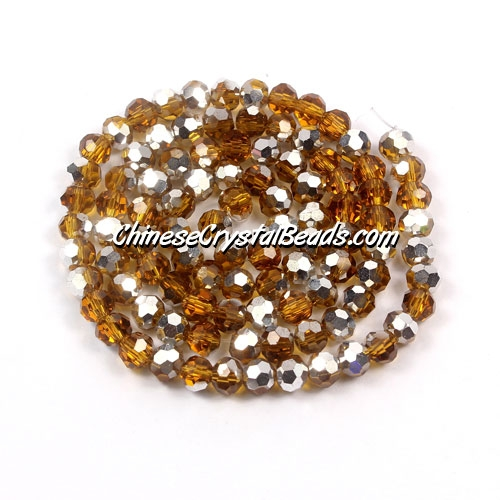 Chinese Crystal round Bead Strand, Topaz Half silve, 4mm ,about 100 beads