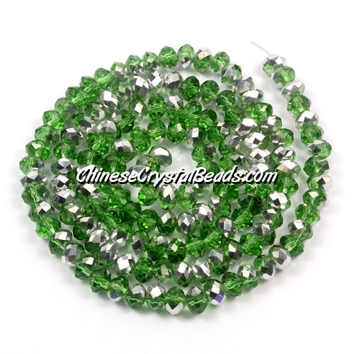 Chinese Crystal Rondelle Bead Strand, fern green Half silve,3x4mm , about 150 beads