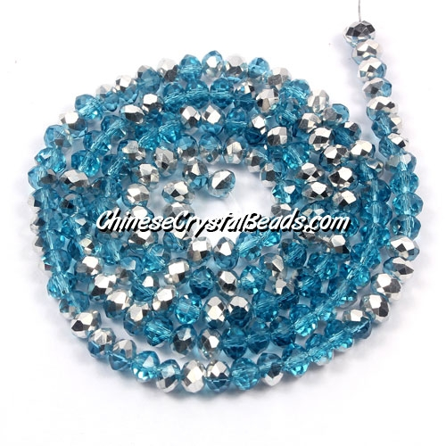 Chinese Crystal Rondelle Bead Strand, Aqua Half silve,3x4mm , about 150 beads