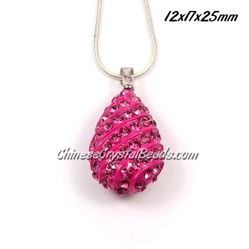 pave drop pendant, 12x17x25mm, fuchsia