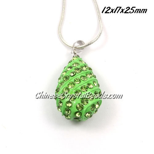 pave drop pendant, 12x17x25mm, green