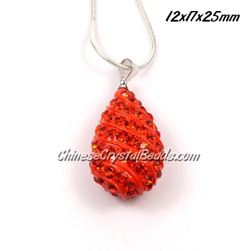 pave drop pendant, 12x17x25mm, orange