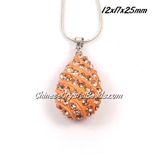 pave drop pendant, 12x17x25mm, peach