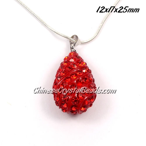 pave drop pendant, 12x17x25mm, red