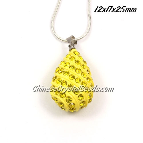 pave drop pendant, 12x17x25mm, yellow