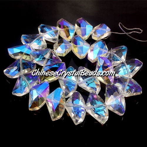 Chinese Crystal galactic Pendant, clear AB, 14x24mm, 10pcs