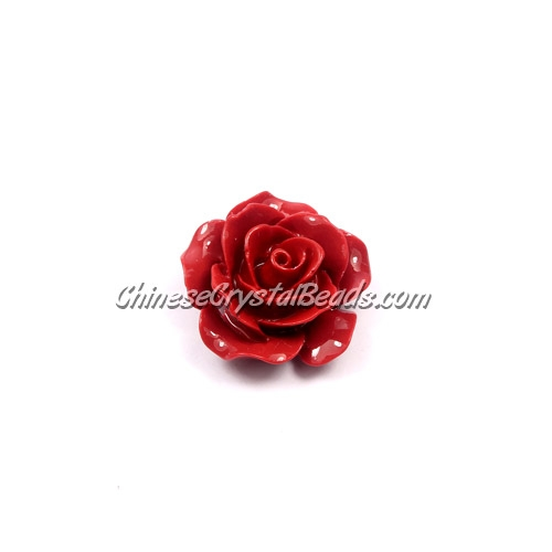 Composite Flower Beads, 20mm, red, hole about 1mm, sold 1 pcs
