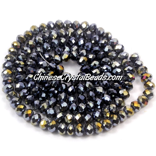 Chinese Crystal Rondelle Strand, Jet AB, 3x4mm, Sold per about 150 pcs bag