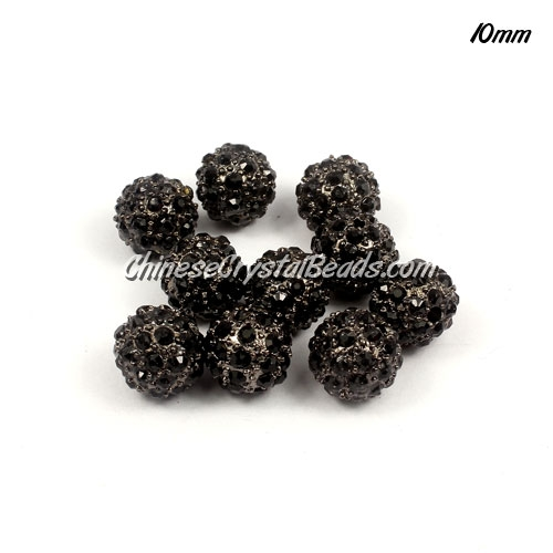 Pave beads, alloy 35 Crystal Rhinestone, Black II, 10mm, 10 pcs