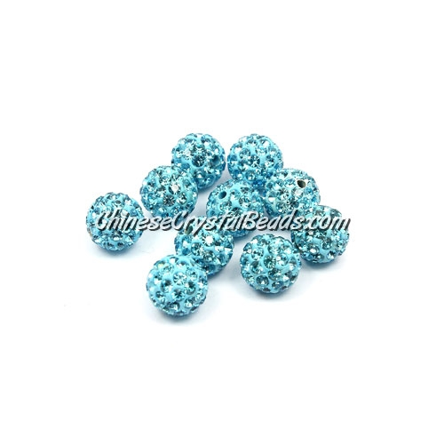 50pcs, 8mm Pave beads, clay disco beads, hole: 1mm, aqua