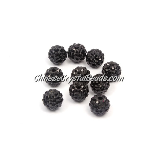 50pcs, 8mm Pave beads, hole: 1mm, black