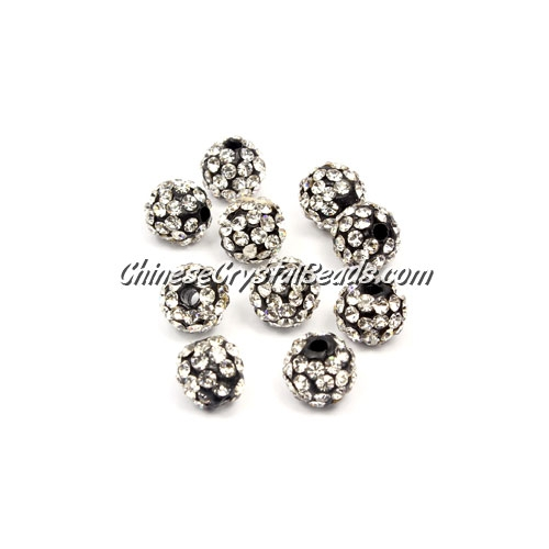 50pcs, 8mm Pave clay dsico beads, hole: 1mm, white and black base