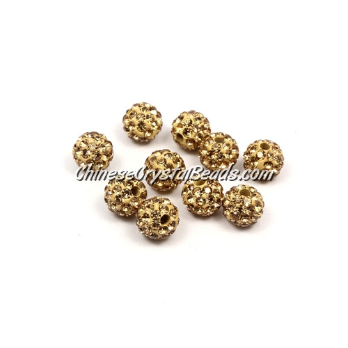50pcs, 8mm Pave clay disco beads, hole: 1mm, champagne