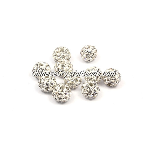 50pcs, 8mm Pave beads, hole: 1mm, white