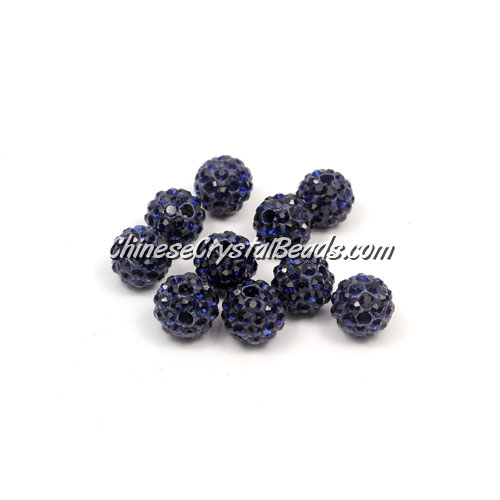 50pcs, 8mm Pave clay dsico beads, hole: 1mm, dark blue