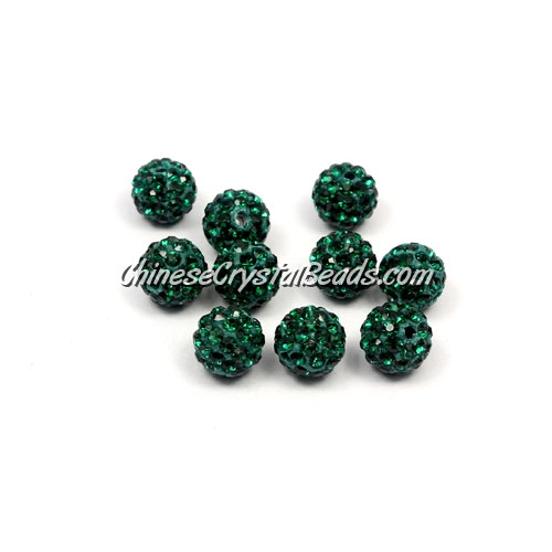 50pcs, 8mm clay Pave beads, hole: 1mm, emerald