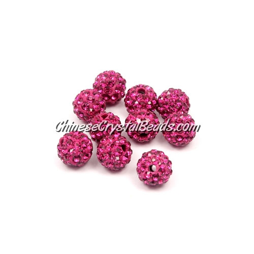 50pcs, 8mm Pave caly disco beads, hole: 1mm, fuchsia