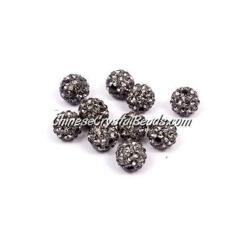 50pcs, 8mm Pave caly disco beads, hole: 1mm, gray