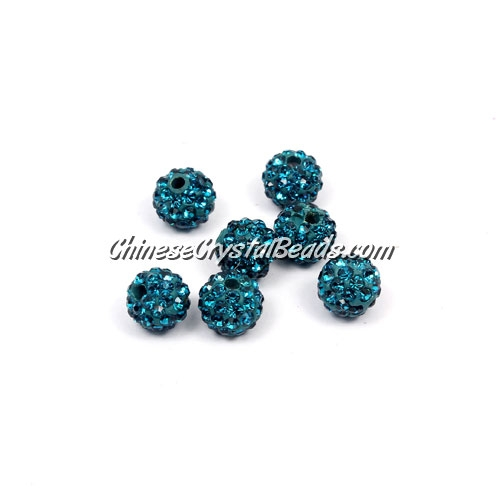 50pcs, 8mm Pave clay disco beads, hole: 1mm, indicolite