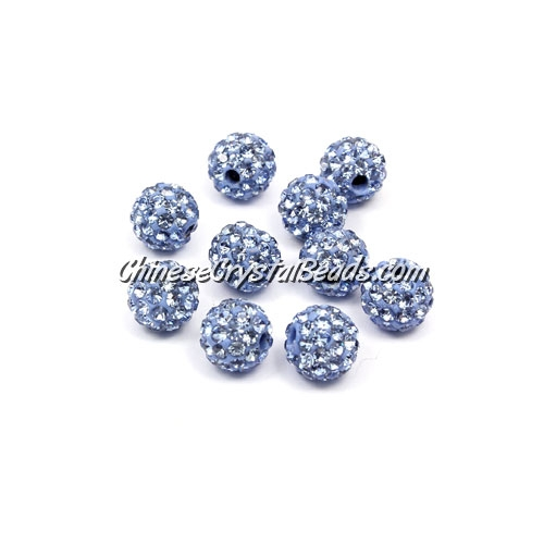 50pcs, 8mm Pave beads, hole: 1mm, light sapphire