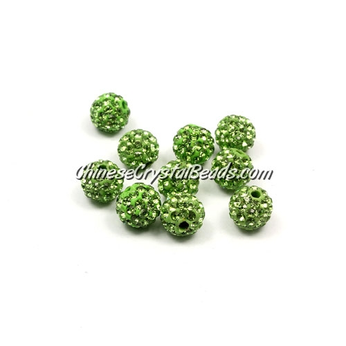 50pcs, 8mm clay Pave beads, hole: 1mm, green