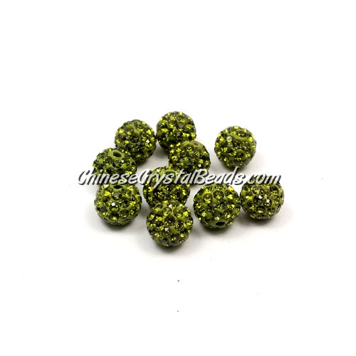 50pcs, 8mm Pave beads, hole: 1mm, Olive green