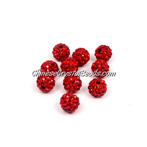 50pcs, 8mm Pave clay disco beads, hole: 1mm, red