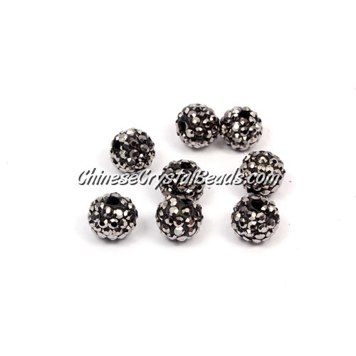 50pcs, 8mm Pave clay disco beads, hole: 1mm, silver