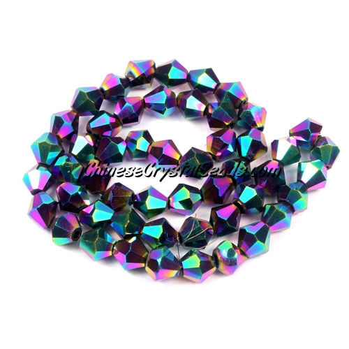 Chinese Crystal Bicone bead strand, 6mm, rainbow, about 50 beads